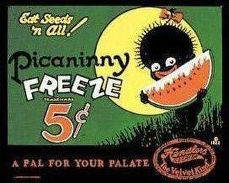 Pickaninny - Reproduction of an old tin sign advertising Picaninny Freeze, a frozen treat.