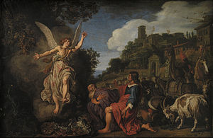 Pieter Lastman - Image: Pieter Lastman The Angel Raphael Takes Leave of Old Tobit and his Son Tobias Google Art Project