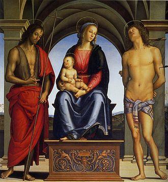 Madonna with Child Enthroned between Saints John the Baptist and Sebastian - Image: Pietro Perugino cat 30