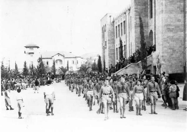 PikiWiki Israel 152 May 1st Parade - The Hebrew Gymnasium מפגן האחד במאי - הגימנסיה העברית