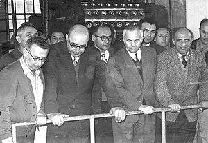Pinchas Sapir - Minister Sapir visiting a factory at Kibbutz Gan Shmuel (1962)