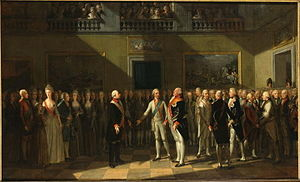 Declaration of Pillnitz - The meeting at Pillnitz Castle in 1791. Oil painting by J. H. Schmidt, 1791.