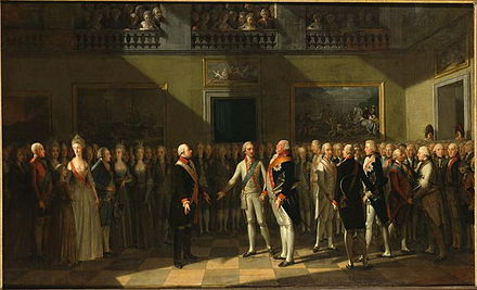 The meeting at Pillnitz Castle in 1791. Oil painting by J. H. Schmidt, 1791.