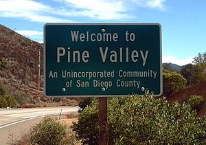 """Welcome to Pine Valley"" sign"