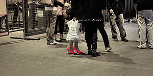 A young woman wearing pink high-heels at Helsi...