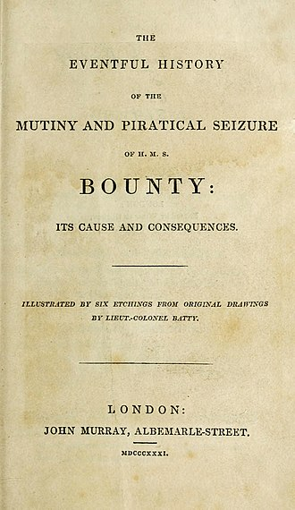 The Eventful History of the Mutiny and Piratical Seizure of HMS Bounty - First edition title page