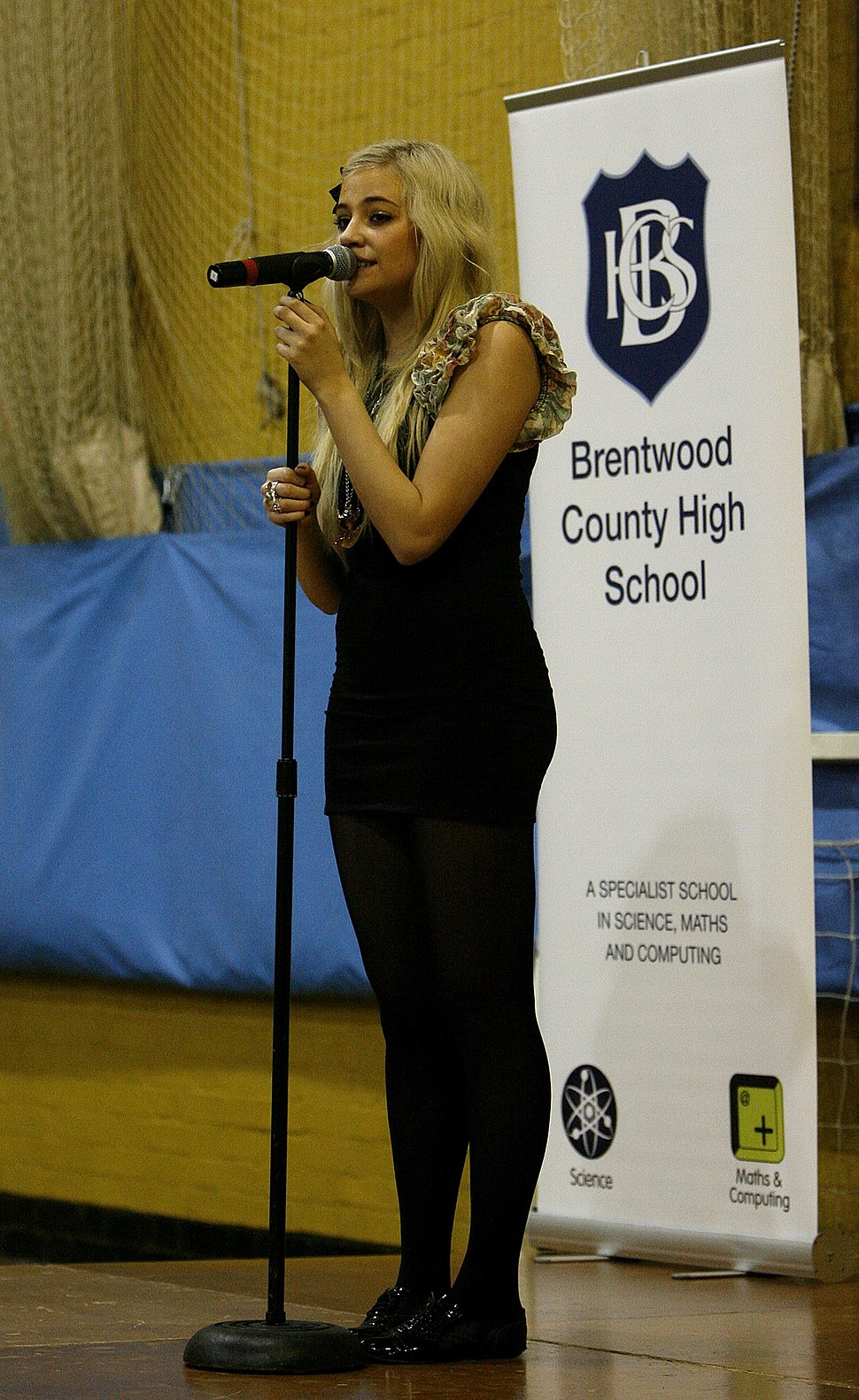 Pixie Lott performing at Brentwood County High School in 2010.