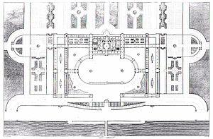 Français : Plan du palais conçu par Pierre Fon...