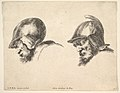 Plate 10- two heads of old soldiers wearing helmets, both facing left and looking downwards, from 'The principles of design' (I principii del disegno) MET DP829702.jpg