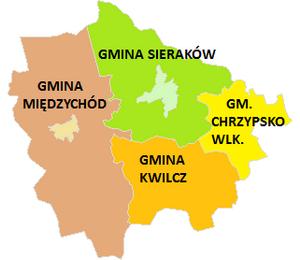 Międzychód County - Image: Podział administracyjny powiatu międzychodzkiego