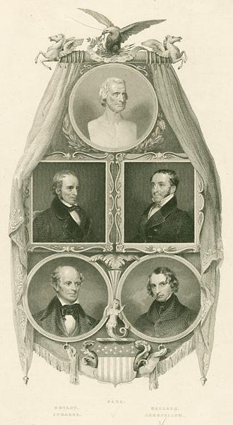 The Poets and Poetry of America - Frontispiece featuring images of popular poets including Richard Henry Dana, Sr., William Cullen Bryant, and Henry Wadsworth Longfellow