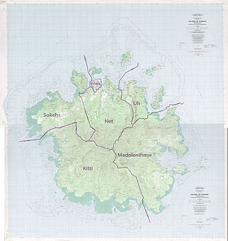 Pohnpei - Detailed map of Pohnpei, showing the borders of the five 'independent tribes'