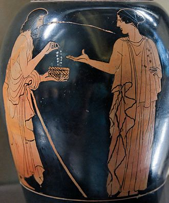 Harmonia (mythology) - Polynices giving Eriphyle the necklace of Harmonia. Attic red-figure oinochoe, ca. 450–440 BC. Found in Italy.
