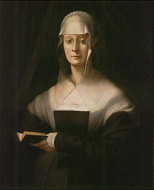 Maria Salviati - Maria Salviati portrait by Pontormo, c. 1543.  Oil on panel; 87 x 71 cm.  Florence, Uffizi Gallery