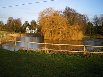 Sheriffhales - Image: Pool at Sheriffhales, and the Manor Lodge cottage geograph.org.uk 1640665