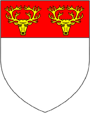 Alexander Popham - Arms of Popham: Argent, on a chief gules two stag's heads cabossed or