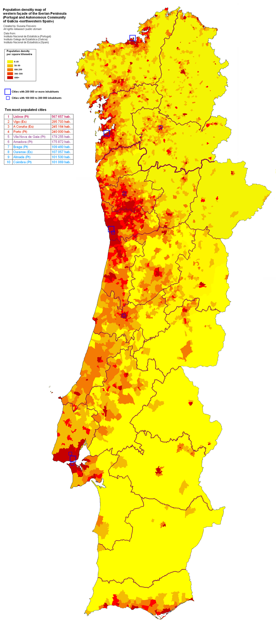 Population density of western Iberian Peninsula