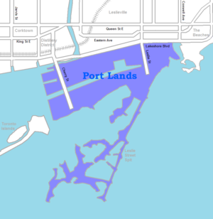 Port Lands - Image: Port Lands map