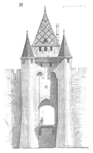 Villeneuve-sur-Yonne - Sketch of the gate to the city by Eugène Viollet-le-Duc