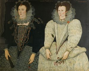 Mary Fitton - Double portrait by unknown artist of her sister Anne Newdigate and Mary Fitton in 1592