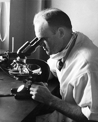 H. R. Cox - H. R. Cox using microscope in 1938