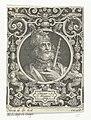Portret van Hector van Troje in medaillon binnen rechthoekige omlijsting met ornamenten Hector troianus (titel op object) De negen besten (serietitel), RP-P-1890-A-15493.jpg