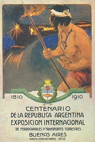 Exposición Internacional del Centenario - Post card promoting the Railways and Overland Transport Exhibition
