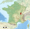 Poulet de Bresse area of production on France relief location map.jpg
