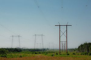 Power lines near the Point Lepreau (New Brunsw...
