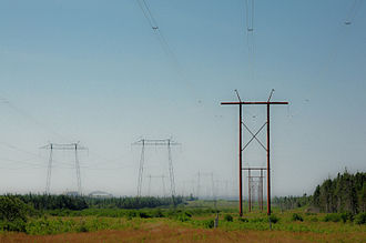 NB Power - Transmission lines near the Point Lepreau Nuclear Generating Station, in southwestern New Brunswick.