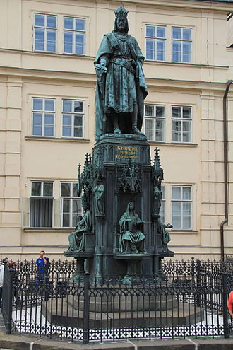 Charles University - Monument to the protector of the university, Emperor Charles IV, in Prague (built in 1848)