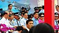 President Ma, Minister of National Defence Kao and Major General Yang in Chiayi AFB Reviewing Stand 20120811.jpg