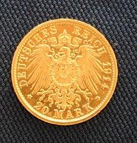 Preußen Wilhelm II in Uniform 20 Mark Revers.JPG