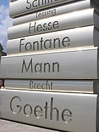 """Modern Book Printing"" from the Walk of Ideas in Berlin, Germany - built in 2006 to commemorate Johannes Gutenberg's invention, c. 1445, of movable printing type."