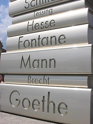 "Theodor Fontane - ""Modern Book Printing"" from the Walk of Ideas in Berlin, Germany – built in 2006 to commemorate Johannes Gutenberg's invention, c. 1445, of movable printing type."