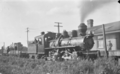 Private line bush locomotive (Mallett) beside a station with a board advertising the Taupo Totara Timber Company ATLIB 314220 (cropped).png
