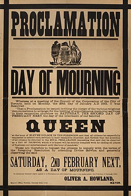 Poster proclaiming a day of mourning in Toronto on the day of Victoria's funeral Proclamation - Day of mourning in Toronto for Queen Victoria February 2, 1901.jpg