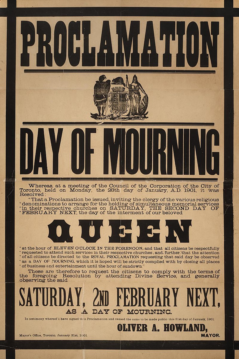 Proclamation - Day of mourning in Toronto for Queen Victoria February 2, 1901.jpg