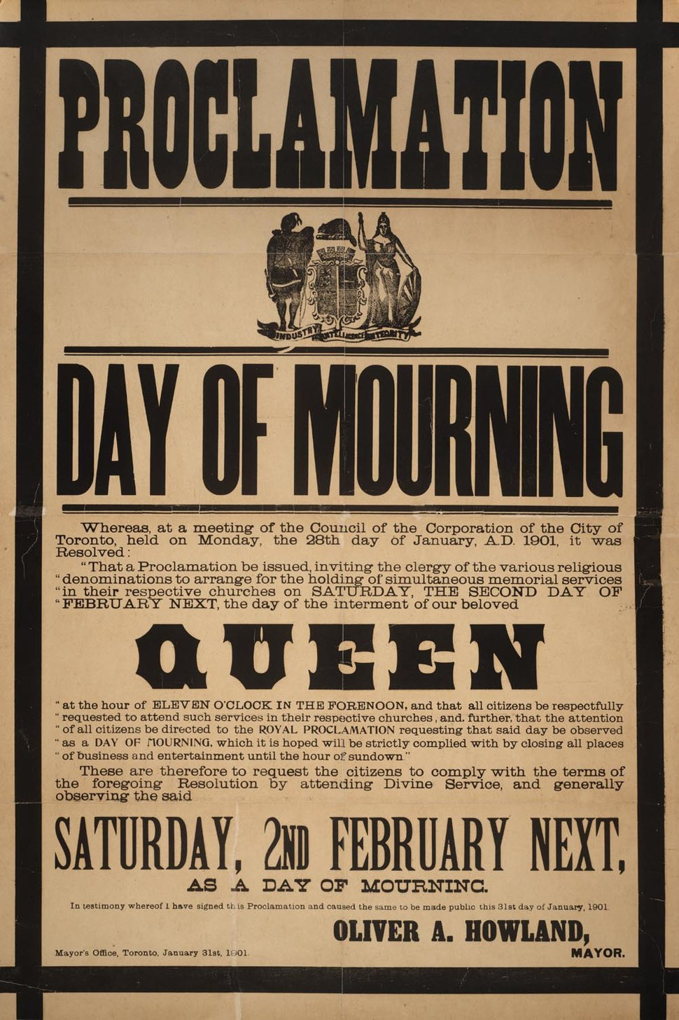 Proclamation - Day of mourning in Toronto for Queen Victoria February 2, 1901