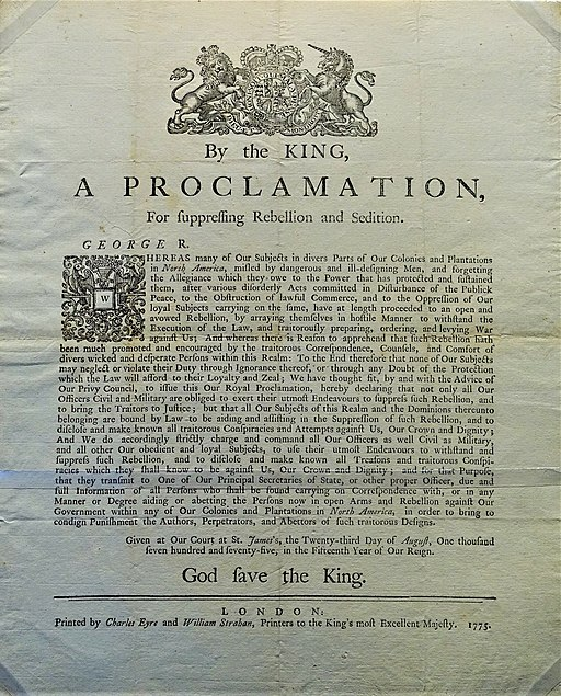 Proclamation of Rebellion, August 23, 1775 - Museum of the American Revolution