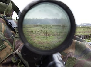 Milliradian - The PSO-1 reticle in a Dragunov sniper rifle has 10 horizontal lines with 1-mil spacing, which can be used to compensate for wind drift, impact correction or range estimation.