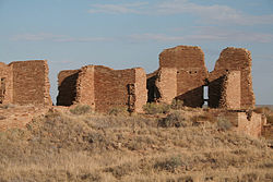 Pueblo Pintado Ancient Pueblo peoples great house ruins in this census-designate place. Located at ۳۵°۵۸′۳۷″شمالی ۱۰۷°۴۰′۲۵″غربی / 35.9769°شمالی 107.6737°غربی / 35.9769; -107.6737.