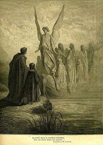 Purgatorio - Purgatorio, Canto II: Christian souls arrive singing, escorted by an angel