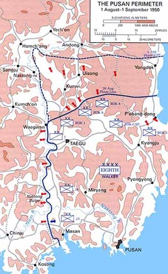 24th Infantry Division (United States) - The Pusan Perimeter in August 1950. The 24th Infantry Division held a position on the western line.