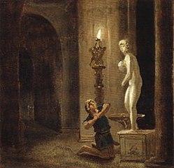Pygmalion before the statue of Venus