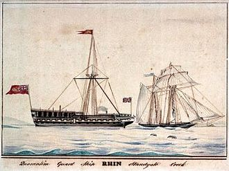 Quarantine - The quarantine ship Rhin, at large in Sheerness. Source: National Maritime Museum of Greenwich, London