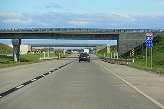 Quebec Autoroute 30 - Eastbound A-30 in Saint-Constant