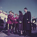 Queen Elizabeth II and Prince Philip being greeted by the RCMP during her visit to Canada.jpg