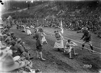 Queen Mary's Army Auxiliary Corps - The winning Queen Mary's Auxiliary Army Corps tug-o-war at the New Zealand Infantry and General Base Depot, Etaples, France, 3 August 1918