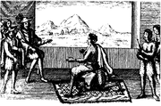 Shows Queen Nzinga in peace negotiations with the portuguese governor in Luanda, 1657.